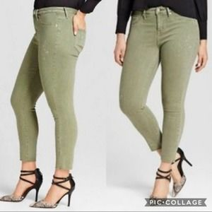 NWT Mossimo High Rise Jegging Crop Olive Denim!